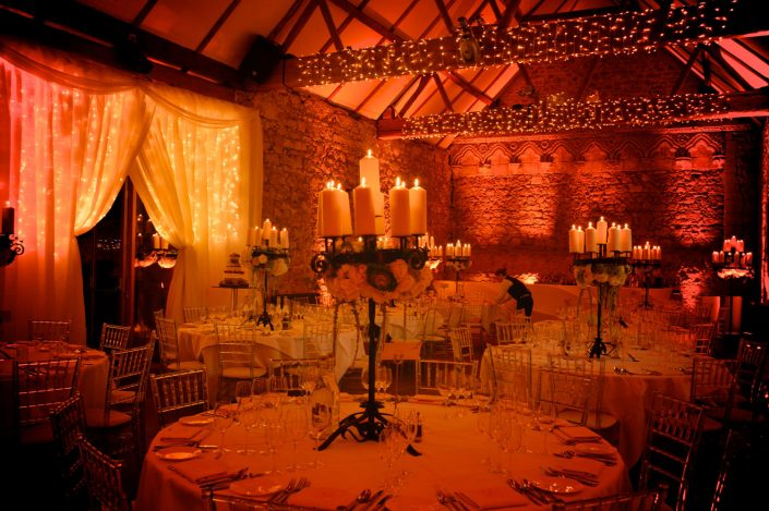 Notley Abbey table wash, fairylights, wedding lighting, led backdrop