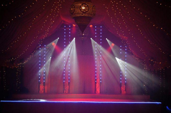 Crazy Bear Stadhampton wedding lighting, draped ceiling, star lights