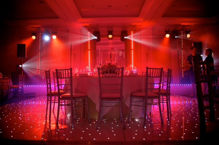 Four Seasons Hampshire stage design, uplighting, wedding lighting, draped ceiling