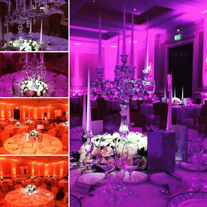 Four Seasons Hampshire event uplighting, pinspotting and wedding lighting design