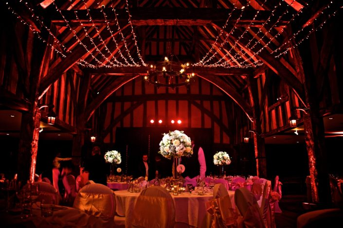 Great Fosters event uplighting, pin-spotting, wedding lighting, fairylight canopy