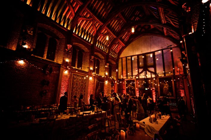 Hatfield House Old Palace wedding lighting design - festoon, uplighting, party lights