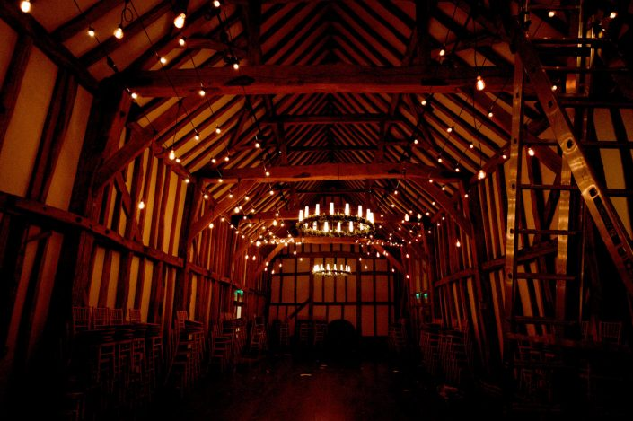 Micklefield Hall Great Barn wedding event lighting - festoon, fairylights, party lights