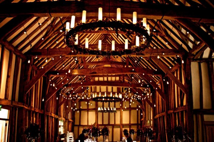 Micklefield Hall canopy lighting design - romantic, candles, fairylights