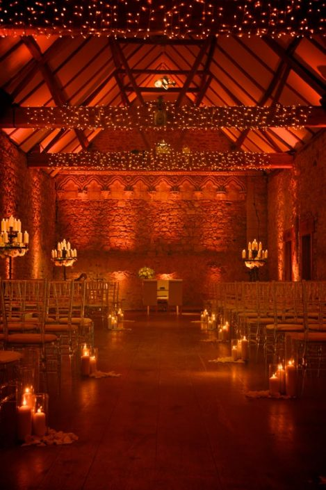 Notley Abbey wedding lighting fairy light party canopy