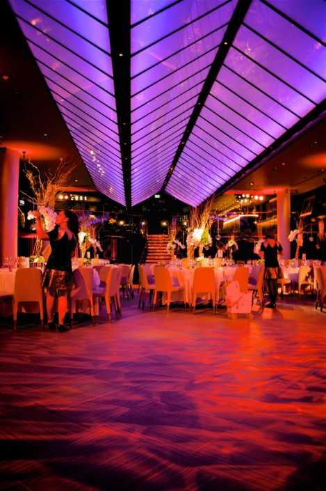Quaglinos london wedding event party lighting design - uplighting and pinspotting