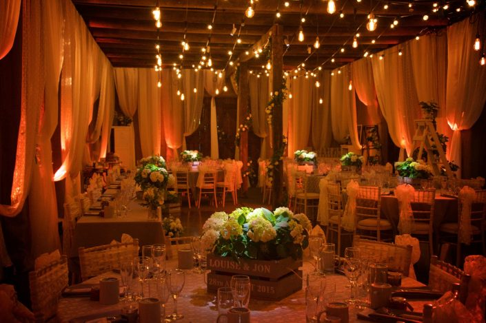 barn wedding shabby chic event lighting, wedding lighting