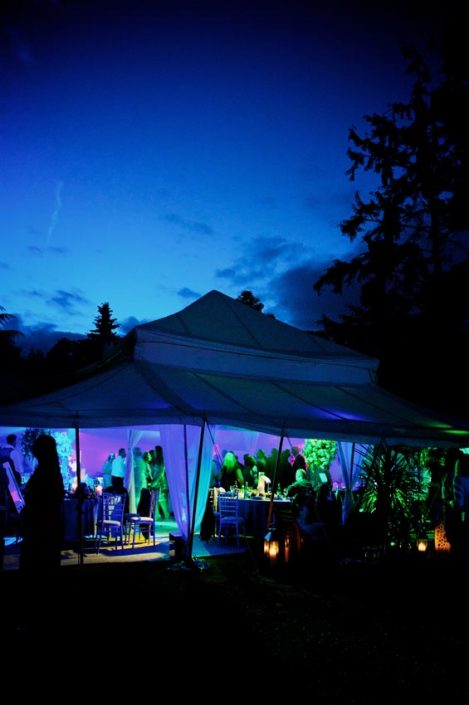 Garden party event, pool, outdoor wedding lighting