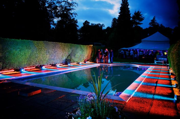 Garden party event, pool, outdoor wedding lighting