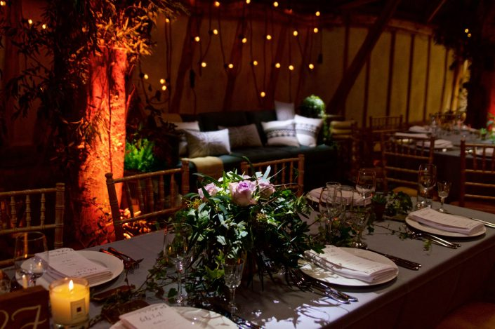 Alpheton Hall Barn wedding party lighting, festoon, fairylights, candles, draping