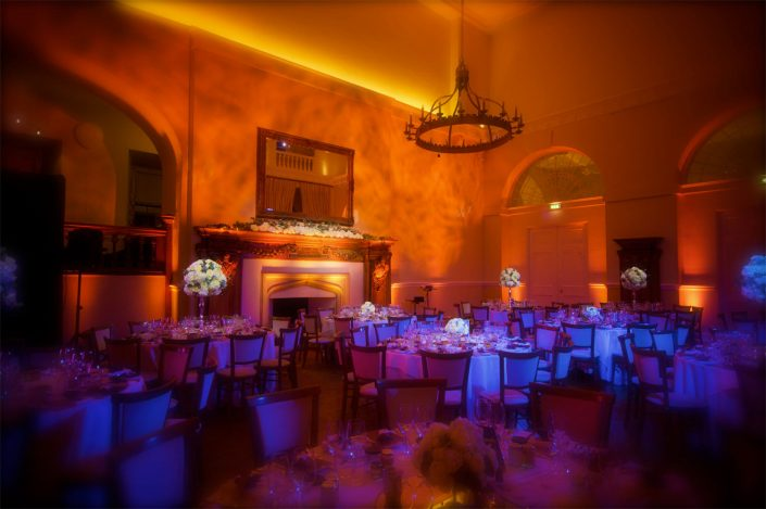Farnham Castle wedding party lighting design