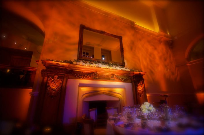 Farnham Castle wedding party lighting design