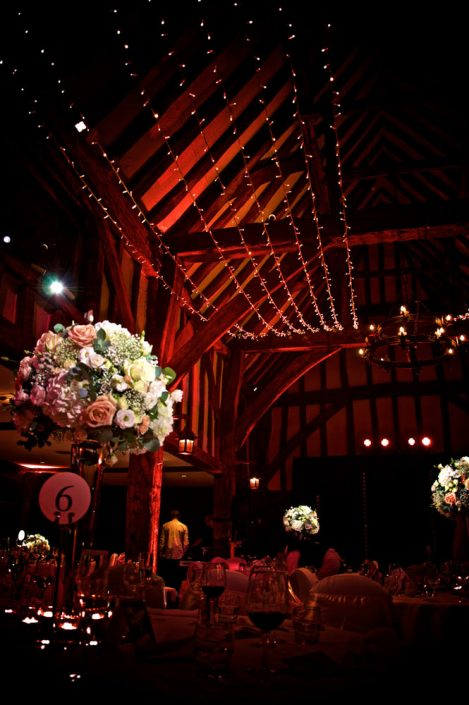 Great Fosters wedding party lighting design - fairylight canopy - uplighting and pinspotting