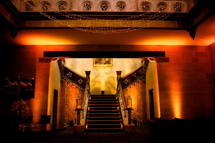 Northcote House Sunningdale Park wedding event lighting design - fairylight canopy, pinspotting, exterior-lighting, uplighting