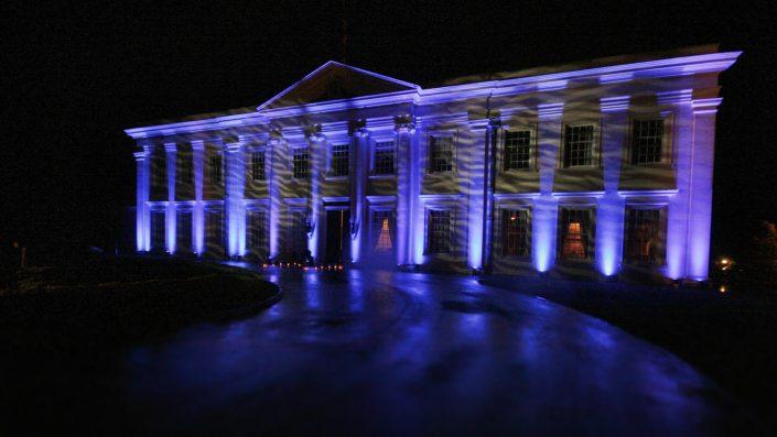 Northcote House Sunningdale Park wedding event lighting design - fairylight canopy, pinspotting, exterior-lighting, uplighting