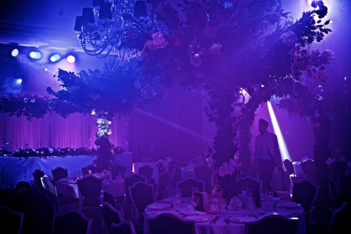 The Hilton Syon Park London - Indian Bride Wedding - Lighting design, backdrop, pinspotting, dance-floor uplighting