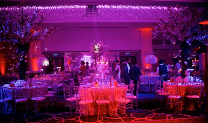The Montcalm London - Nigerian Wedding Party Lighting Design - uplighting, dance-floor, candles