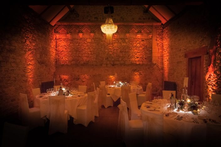 Notley Abbey table lighting, fairylights, wedding candles