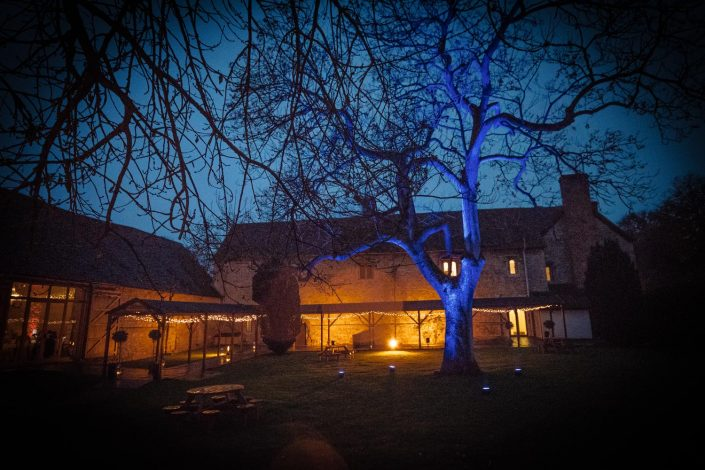 Notley Abbey table lighting, fairylights, wedding candles, tree lighting