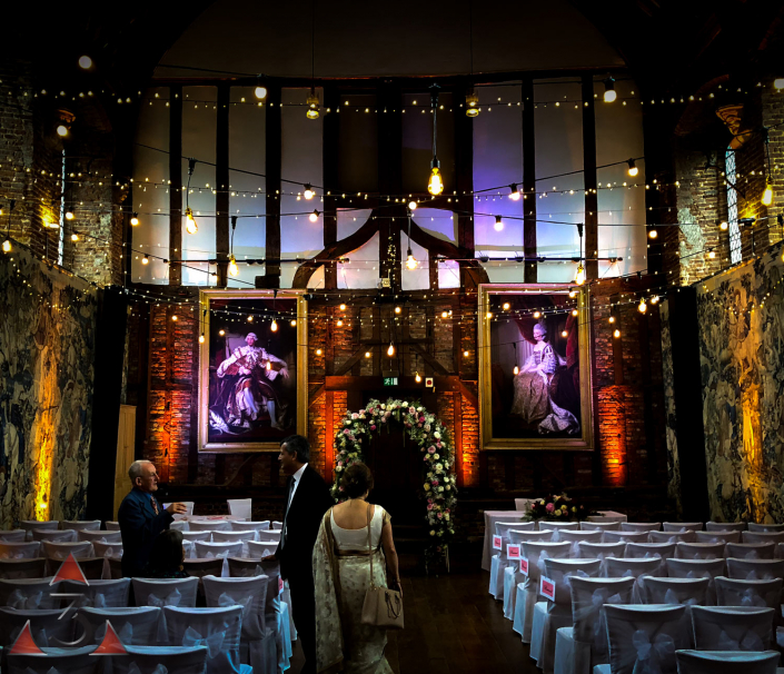 Hatfield house old palace wedding event corporate party lighting design