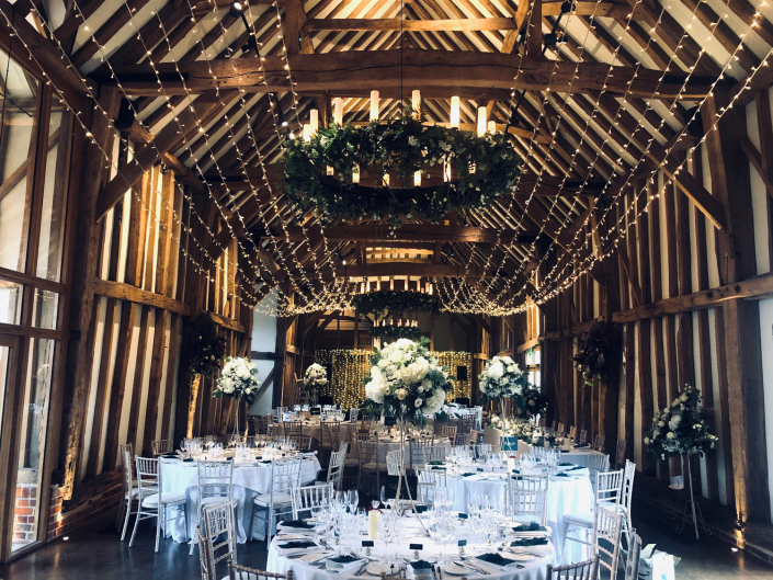 Micklefield Hall Great Barn wedding event lighting