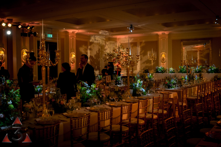 Four Seasons Hampshire wedding lighting ballroom party dinner design